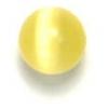 "Cat Eye Beads 6mm Round Yellow Strung 16"" Fibre Optic"